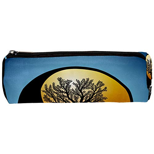 Tree and It's Roots in Yin Yang Symbol Pencil Bag Pen Case Stationary Case Pencil Pouch Desk Organizer Makeup Cosmetic Bag for School Office