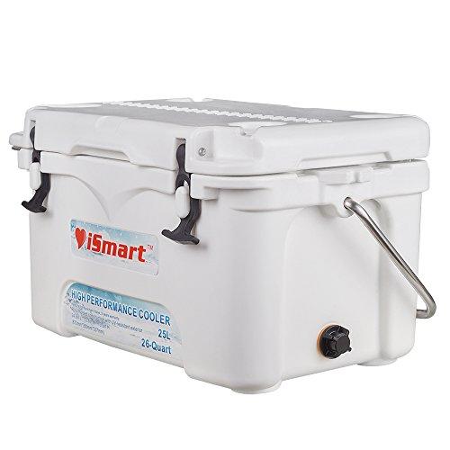 iSmart 26 Quart Ice Chest Rotomolded Cooler Box, White, 25L