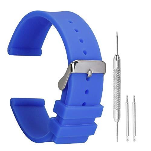 patrón estampado de 22 mm de agua bandas de reloj de reemplazo resistente correas de caucho de silicona antideslizante en azul oscuro