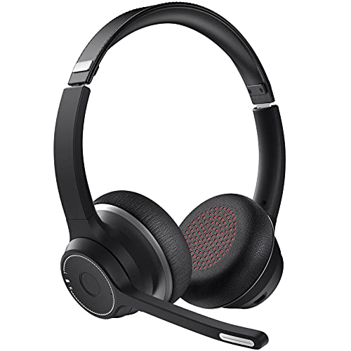 Bluetooth Headset with Dual Microphone, Headsets with CVC8.0 Noise Cancelling Mic, Mute Function, Bluetooth 5.0 55ft Range, Soft Earmuff, Wireless Headphones for PC Office Call Center Class Skype