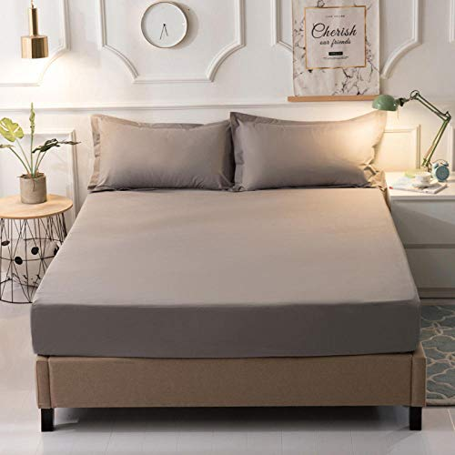 GTWOZNB Super Soft Warm and Cosy Fitted Bed Sheet Waterproof single bed sheet dustproof-gray_180*220cm