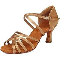 HIPPOSEUS Mujeres Zapatos de Baile Latino Práctica de satén Salón de Baile Zapatos de Baile de Rendimiento con Correas Cruzadas Punta Abierta,FWZJ-CL-BDJ-7,Marrón Claro Color,EU 39