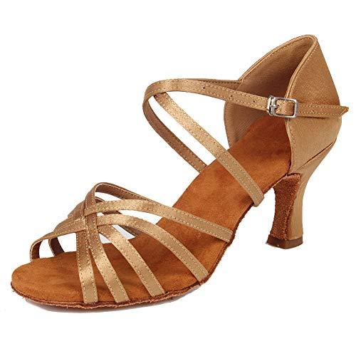 HIPPOSEUS Mujeres Zapatos de Baile Latino Práctica de satén Salón de Baile Zapatos de Baile de Rendimiento con Correas Cruzadas Punta Abierta,FWZJ-CL-BDJ-7,Marrón Claro Color,EU 36