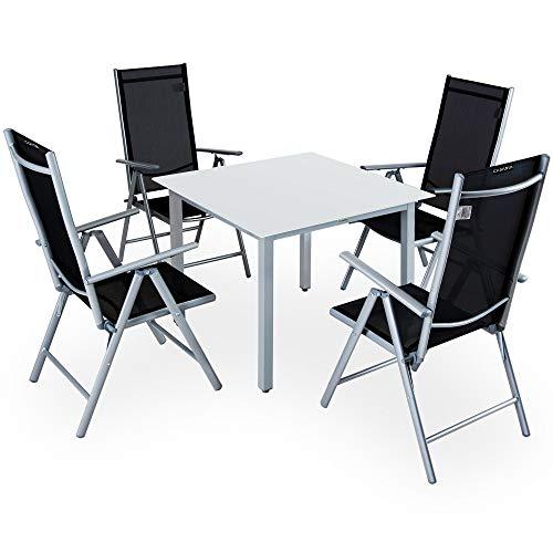 Casaria Salon de Jardin Aluminium Argent »Bern« 1 Table 4 chaises Pliantes Plateau de Table en Verre dépoli Dossier réglable 7 Positions