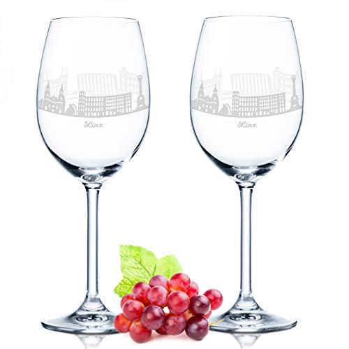 Leonardo Weinglas mit Gravur - Linz Geschenk im 2er Set - Weingeschenk - Souvenir Andenken und Mitbringsel - Geburtstagsgeschenk für Sie und Ihn