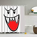 Trongr Bathroom Shower Curtain Super Mario Bros Ghost Boo Shower Curtains with 12 Hooks, Durable Waterproof Fabric Window Curtain(65 x 72 inch)