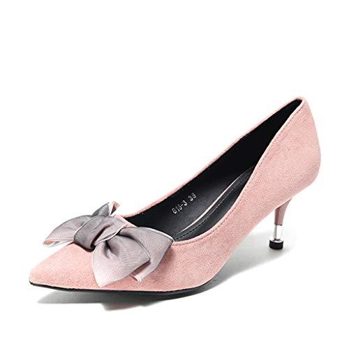Sandalen Dames Pointed-Toe Kitten Hakken Zoete Boeg Ondiepe Mond Roze Hoge Hakken Elegante 6cm Jurk Zwarte Schoenen