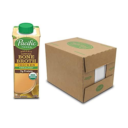 Pacific Foods Organic Bone Broth, Original Chicken, 8-Ounce Cartons, 12-Pack Keto Friendly
