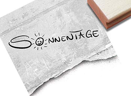 Stempel Textstempel SONNENTAGE in Handschrift mit Sonne - Schriftstempel Karten Briefe Urlaubspost Fotobuch Reise-Gutschein Scrapbook - zAcheR-fineT