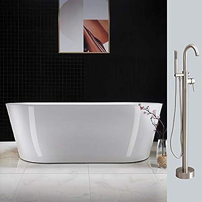 "Woodbridge BTA1513 BN 67"" Acrylic Freestanding Bathtub Contemporary Soaking Tub Overflow and Drain BTA1513-B,with Brushed Nickel Faucet F0001, White"