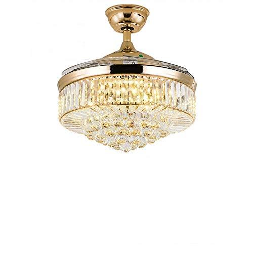 Ventilador de techo con iluminación y mando a distancia, color dorado, cristal regulable