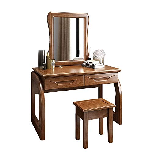 Purchase HIZLJJ Vanity Set Dressing Table with Mirror Organizer Stool Makeup Wooden Writing Desk 2 D...
