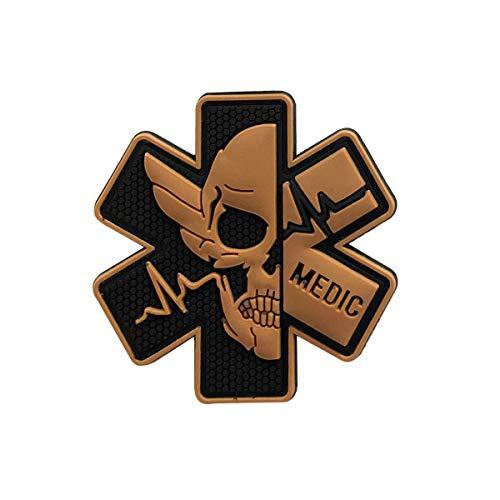 Medic Patch 3D PVC Gummi Sanitäter Rettungssanitäter medizinische EMS EMT MED Erste Hilfe Moral Taktische Moral Totenkopf Militär Hakenverschluss Badge weiß / blau