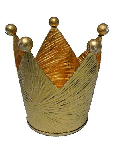Bellaflor Lot de 4 couronnes en métal/Couleur doré/Ø 8 cm Hauteur 9,5 cm