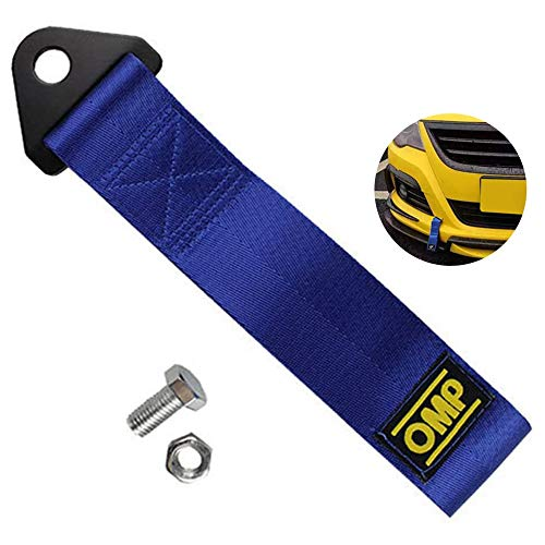 Cinghia di traino gancio di traino per rimorchio alta resistenza per veicolo anteriore e posteriore Cinghia di Traino in tessuto fino a 3 tonnellate di portata(blu)
