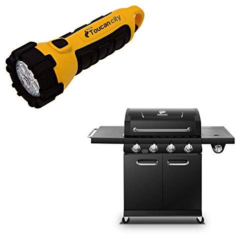 Toucan City LED Flashlight and Dyna-Glo Premier 4-Burner Propane Gas Grill in Black DGP483CSP-D