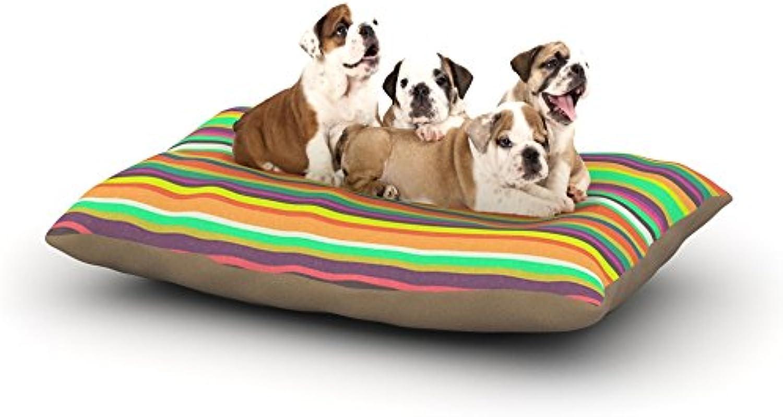 Kess InHouse Nandita Singh Pattern Play Stripes  Fleece Dog Bed, 30 by 40Inch, Rainbow
