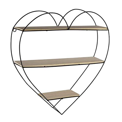 NEG Wandregal/Setzkasten NIKAU (Herz) aus Schmiede-Eisen mit 3 Massivholz-Ablagen