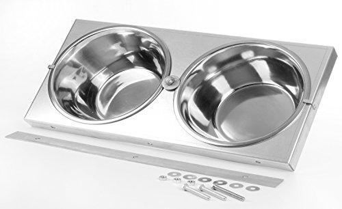 SAUERLAND Futternapf-Set zum Anschrauben mit 2 Edelstahlschüsseln, Hundenäpfe, Wassernapf, Futternapf