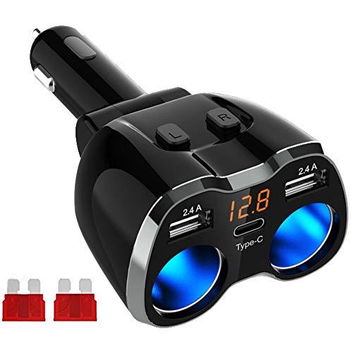 Caricabatteria da Auto Accendino Accendisigari Auto USB Splitter, Adattatore per prese di corrente da 80W con 12V / 24V e doppia porta USB da 2,4 A e tipo C