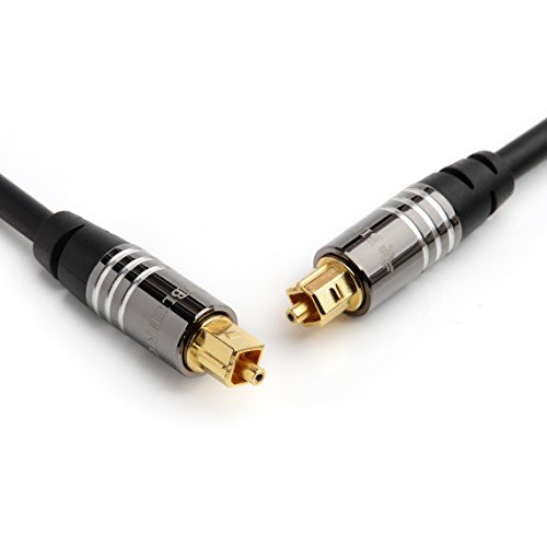 BlueRigger Premium Digital Optical Audio Toslink Cable - with 24K Gold Plated Connectors (for Home Theatre, Xbox, Playstation etc.) (15FT)