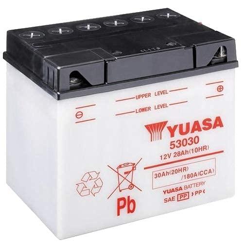 Batteria moto Yuasa 53030 (Y60-N30L-A) Dry - Fornita secca - 12 V 30 Ah - Dimensioni: 187 x 130 x 170 mm compatibile con MOTO GUZZI V35 Imola/V35 Monza 350