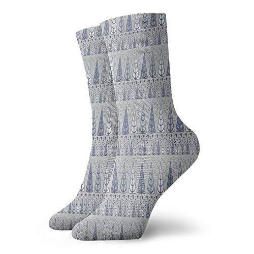Calcetines suaves de longitud media de pantorrilla, triangulares de pino, diseño horizontal, círculos inspirados en arte moderno, calcetines para mujeres y hombres, ideales para correr