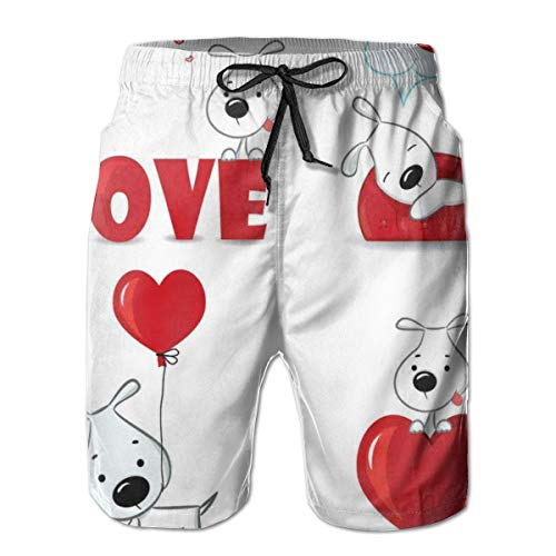 Men's Swim Trunks Board Shorts Beach Pants Surfing Boardshorts,Funny Dogs with Heart Symbols My Pet Best Friends Companions Ever House Animal Theme,Fancy Print Hawaiian Shorts Four Size,Large