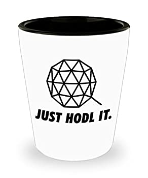 Official Qtum Logo Just Hodl It Bar Drinking 1.5oz Shot Glass Cryptocurrency Crypto Miner Blockchain Invest Trade Buy Sell Hold QTUM