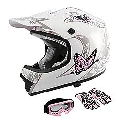 commercial TCMT DOT Certified Youth Pink Butterfly Dirt Bike ATV Off-Road Street Bike Motocross Helmet… girls motorcycle helmets