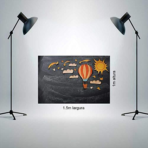 Fundo Fotografico Tecido Newborn 1,50x1,00m Textura cinza escuro com nuvem, sol e balão P1172