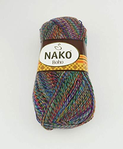 Nako 100 g Sockenwolle Boho 4 fädig Lauflänge 400m 4 Fach Wolle mit Farbverlauf (86625)