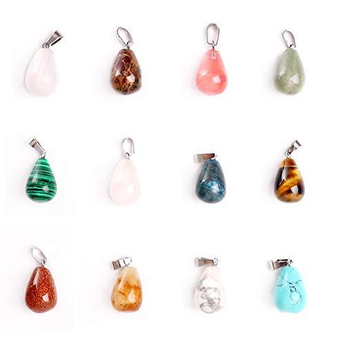 CDJX - Set di 12 ciondoli con gemme naturali, a forma di cuore, in pietre naturali miste, per gioielli fa da te, chakra, braccialetti, scatola inclusa  A