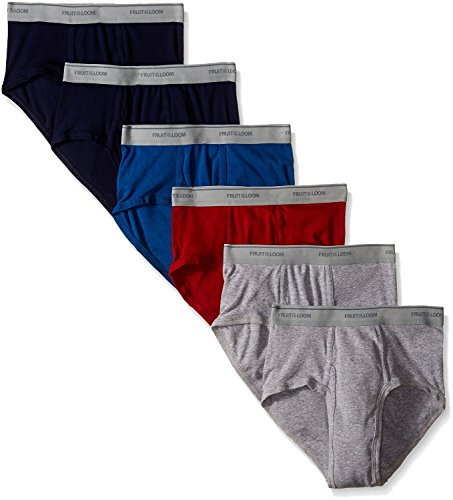 Price comparison product image Fruit of the Loom Men's Stripe Solid Fashion Brief(Pack of 6) (Assorted,  XXX-Large (48-50 Inch))