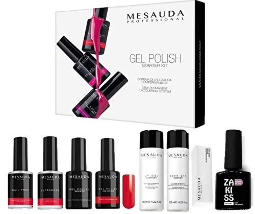 Mesauda Starter kit completo di scatola smalto semipermanente Gel Polish Red Unghia Cleanser Remover...
