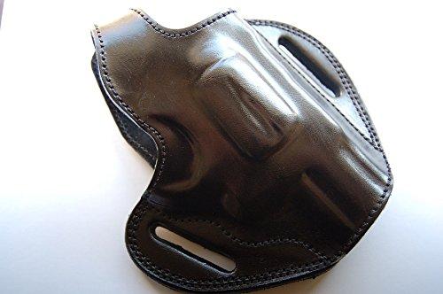 cal38 Leather Belt Custom Holster for Ruger SP101 357 Magnum 2 inch 2.25 inch Snub Nose Revolver (R.H) Black