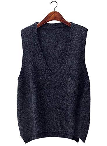 CYSTYLE Damen Weste Strick Pullunder V-Ausschnitt Strickweste Vest für Business und Freizeit (Grau)