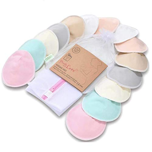 Organic Bamboo Nursing Breast Pads - 14 Washable Pads + Wash Bag - Breastfeeding Nipple Pad for Maternity - Reusable Nipplecovers for Breast Feeding (Pastel Touch, Large 4.8')