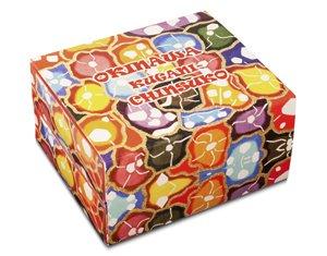 くがにちんすこう 小箱×2段式 (32個入)×3箱 くがに菓子本店 紅型調の華やかなパッケージ 贈答用に