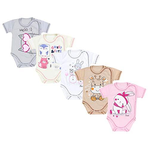 TupTam Unisex Baby Kurzarm Wickelbody mit Spruch 5er Pack, Farbe: Mädchen 2, Größe: 74