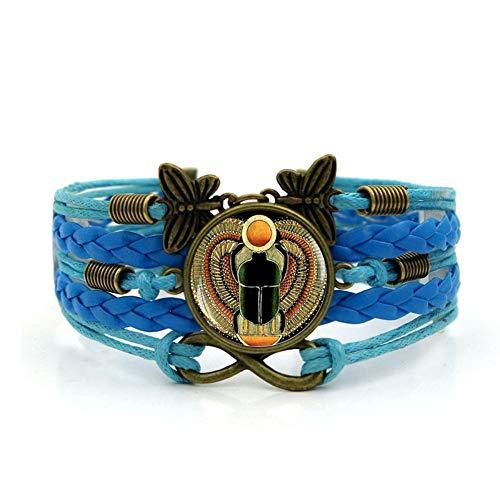 Pulsera Tejida,Cuerda Azul Étnico Escarabajo Egipcio Animal,Tiempo Pulsera De Piedras Preciosas De Múltiples Capas De Vidrio Tejido A Mano Joyas Combinadas Moda Para Mujer Joyas De Estilo Euro