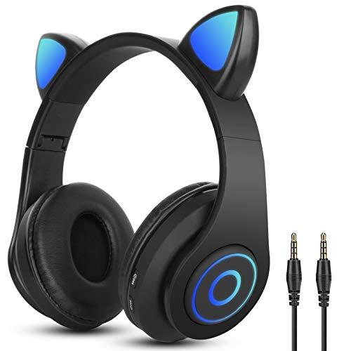 Auriculares Bluetooth Diadema con Oreja de Gato Sendowtek Cascos Inalámbricos con luz RGB Cascos Gaming con 3.5mm Cable para Niños/Adultos Compatible con Movil/Nintendo Switch/Tablet/PS4