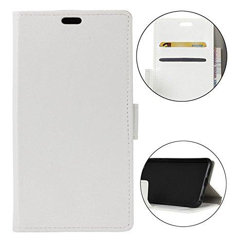 Sunrive Hülle Für Xiaomi Mi Mix 2S, Magnetisch Schaltfläche Ledertasche Schutzhülle Hülle Handyhülle Schalen Handy Tasche Lederhülle(Crazy-Pferd weiß 5)+Gratis Universal Eingabestift