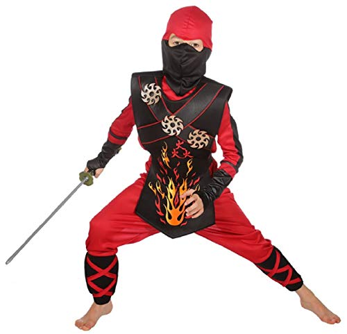 narrenkiste W3386-152 - Disfraz de guerrero ninja para nios y nias, talla 152, color negro y rojo