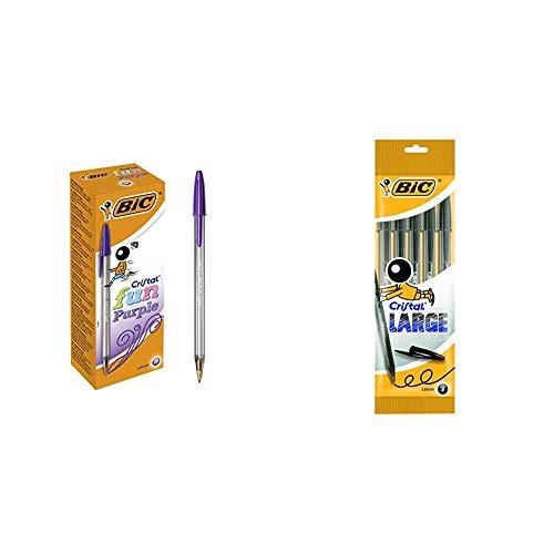 BIC Cristal Fun bolígrafos Punta Ancha (1,6 mm) – Morado, Caja de 20 unidades + Cristal Large bolígrafos Punta Ancha (1,6 mm) - Negro, Blíster de 5 unidades
