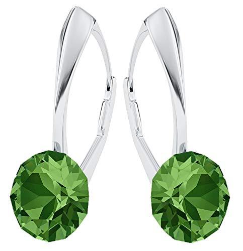 **Beforya Paris** *IMPECCABLE BRILLANTS* Silber 925 *Viele Farben* - Ohrringe mit Kristallen von Swarovski® - Schön Ohrringe Damen Ohrhänger - Wunderbare Ohrringe mit Schmuckbox PIN/75 (Fern Green)