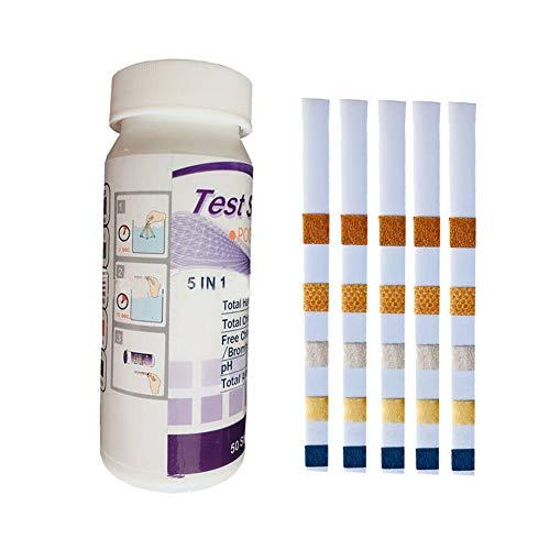 Porfeet Teststreifen, 5 In 1 Schwimmbad SPA Wasser PH Chlor Alkalisch Brom Testpapierstreifen