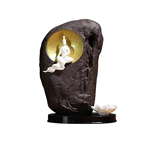 WQFJHKJDS Purple sand clay Buddha reflux censer, 200 reflux incense cones + 200 incense sticks, aromatherapy ornaments and home decorations