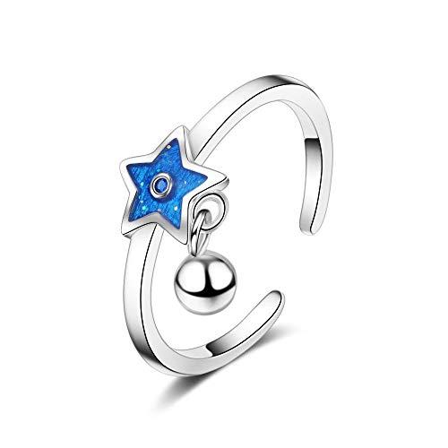 Bague 925 Argent Femme Ajustable, Simple Cordon Blue Star Tassel Bague Ajustable pour Les Femmes Girl 925 Bague en Argent Forme Cartoon Cadeau d'anniversaire