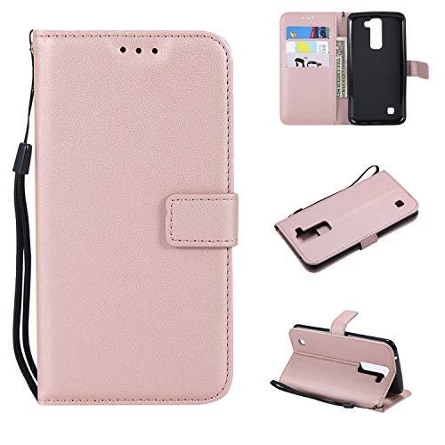 TTUDR LG K8 K350N / K7 X210 Premium Leder Flip Schutzhülle [Standfunktion] [Kartenfächer] [Magnetverschluss] lederhülle klapphülle für LG K8 / LG K7 - TTMS020842 Rosa Gold